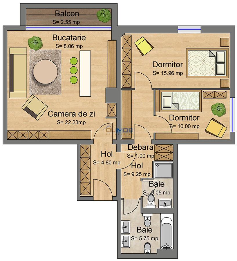 Apartameng 3 camere Laguna residence
