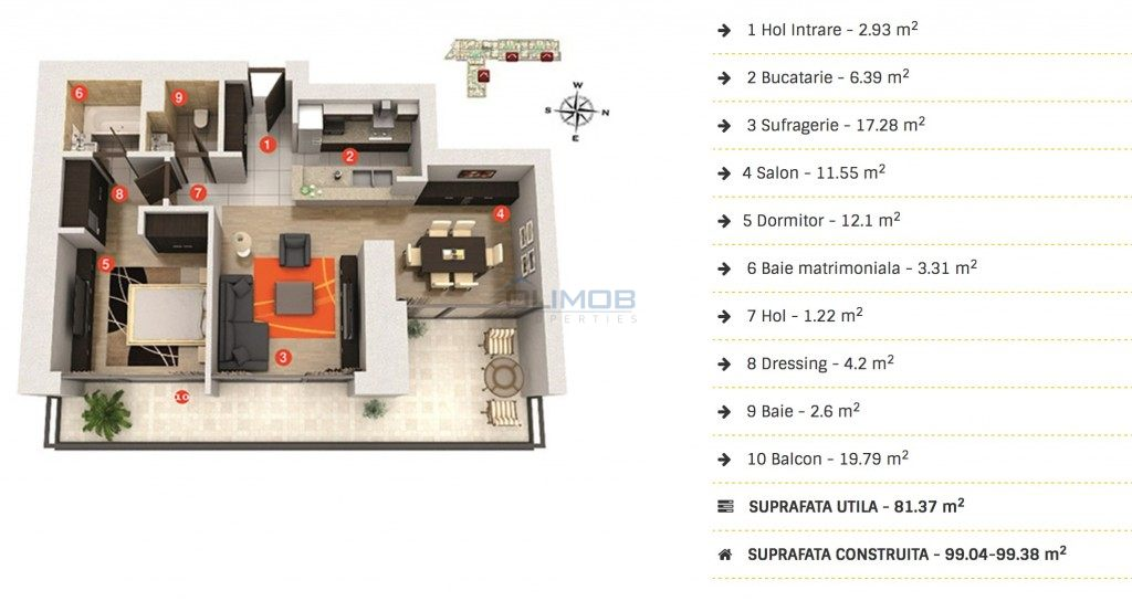 inchiriere 2 camere Cortina residence