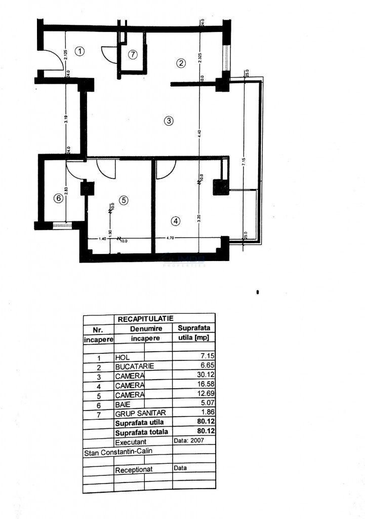 Schita apartament 3  camere