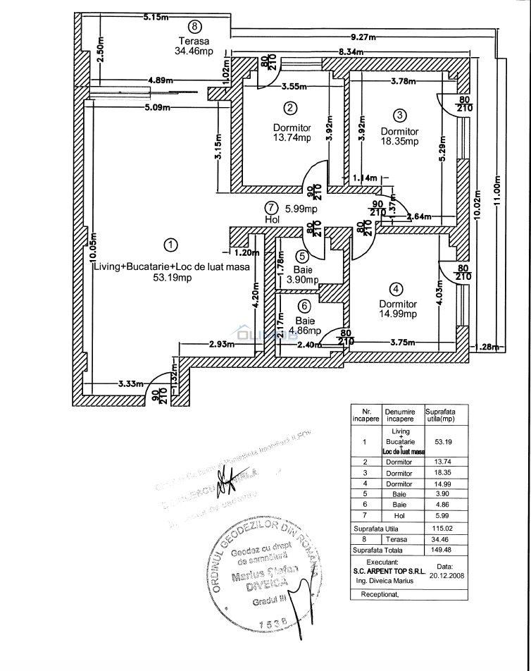 schita apartament 4 camere