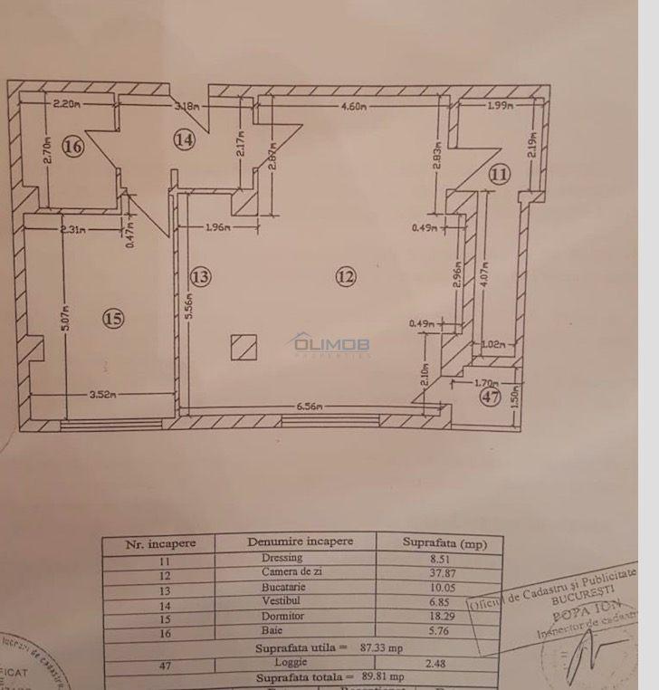 Schita partament 2 camere