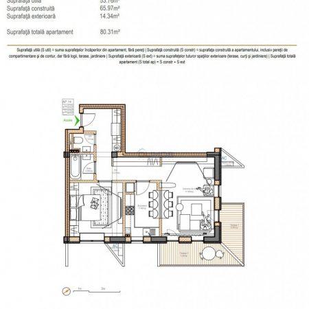 schita apartament 2 camere Baneasa