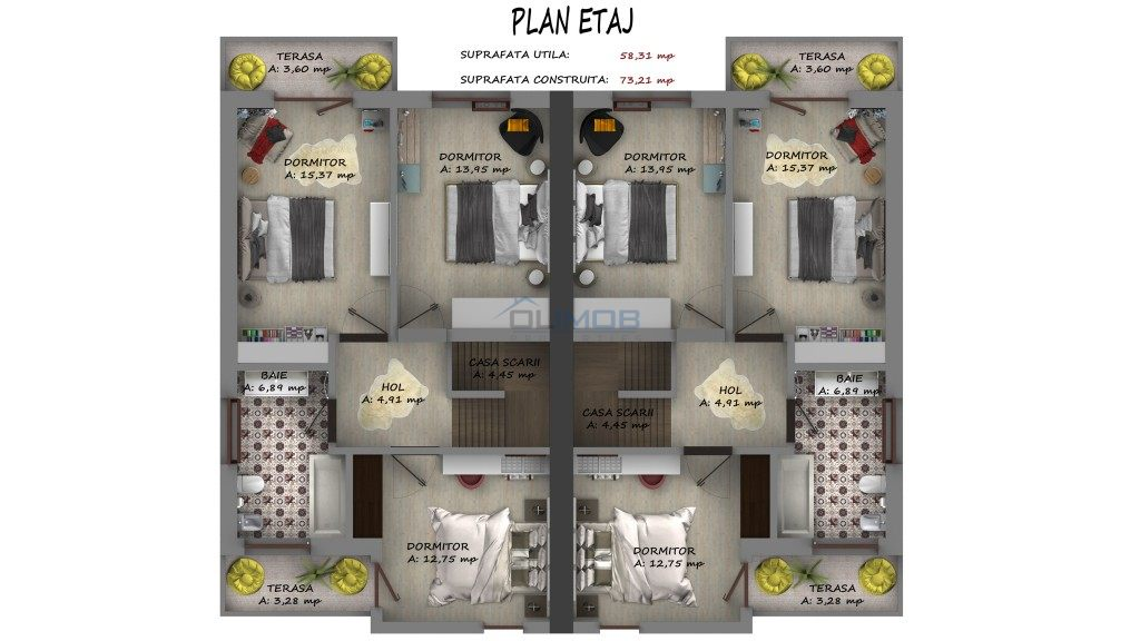 plan etaj vila Tunari