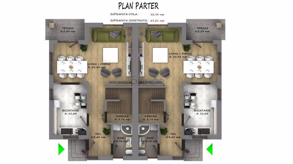 Plan Parter vila Tunari